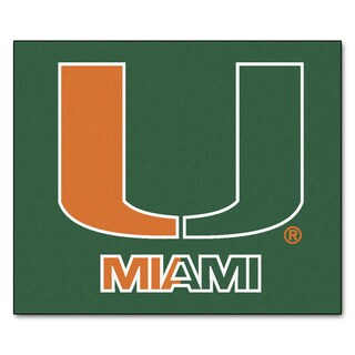 Fanmats Machine-Made University of Miami Green Nylon Tailgater Mat (5' x 6')