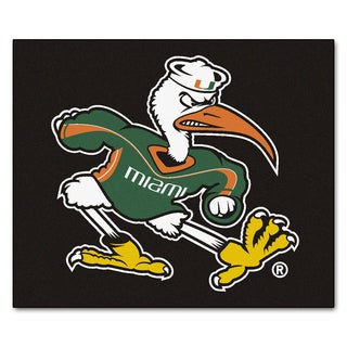 Fanmats Machine-Made University of Miami Black Nylon Tailgater Mat (5' x 6')