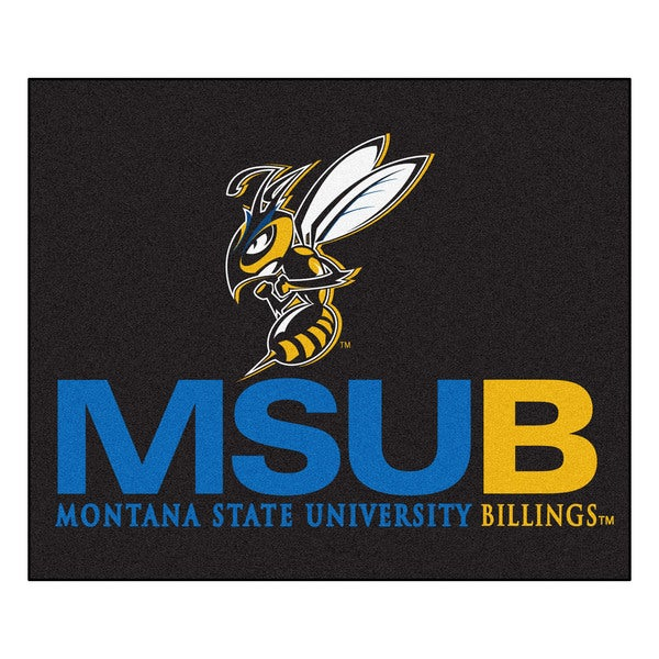Fanmats Machine-Made Montana State-Billings Black Nylon Tailgater Mat (5' x 6')