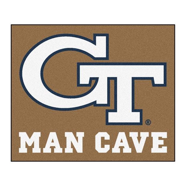 Fanmats Machine-Made Georgia Tech Tan Nylon Man Cave Tailgater Mat (5' x 6')
