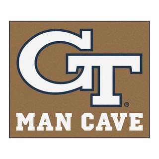 Fanmats Machine-Made Georgia Tech Tan Nylon Man Cave Tailgater Mat (5' x 6')