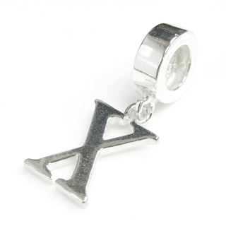 Queenberry Sterling Silver Initial Letter Alphabet 'X' Dangle European Bead Charm
