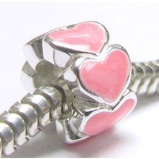 Queenberry Sterling Silver Enamel Endless Love Pink Heart European Bead Charm