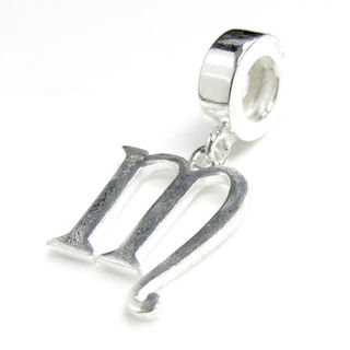 Queenberry Sterling Silver Initial Letter Alphabet 'M' Dangle European Bead Charm