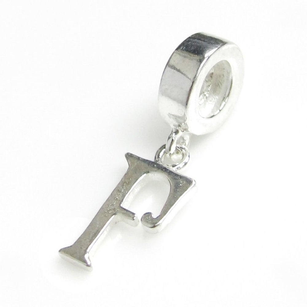 """Queenberry Sterling Silver Initial Letter """"F' Dangle Euro..."""