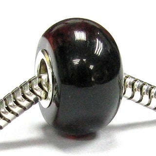 Queenberry Sterling Silver Cherry Natural Baltic Amber Round European Bead Charm