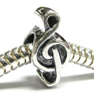 Queenberry Sterling Silver Music Note Treble Clef Melody European Bead Charm