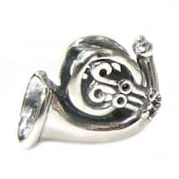 Queenberry Sterling Silver Musical Instruments French Horn Screw On European Bead Charm