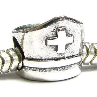 Queenberry Sterling Silver Nurse Cap European Bead Charm