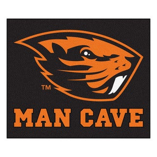 Fanmats Machine-Made Oregon State University Black Nylon Man Cave Tailgater Mat (5' x 6')
