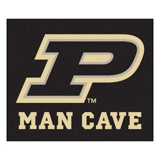 Fanmats Machine-Made Purdue University Black Nylon Man Cave Tailgater Mat (5' x 6')