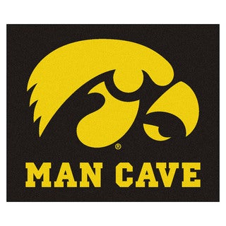 Fanmats Machine-Made University of Iowa Black Nylon Man Cave Tailgater Mat (5' x 6')