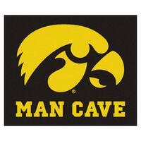 Fanmats Machine-Made University of Iowa Black Nylon Man Cave Tailgater Mat (5' x 6')