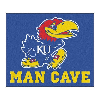 Fanmats Machine-Made University Kansas Blue Nylon Man Cave Tailgater Mat (5' x 6')