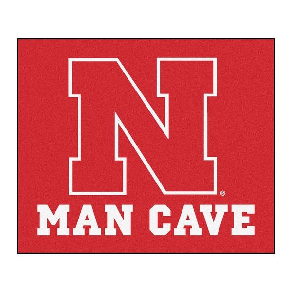 Fanmats Machine-Made University of Nebraska Red Nylon Man Cave Tailgater Mat (5' x 6')