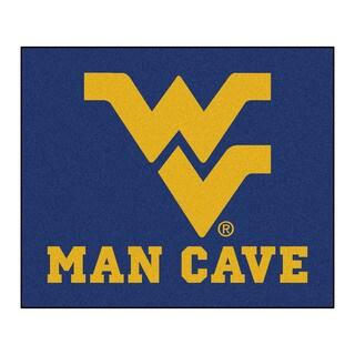 Fanmats Machine-Made West Virginia University Blue Nylon Man Cave Tailgater Mat (5' x 6')