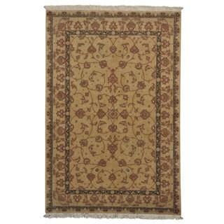 Dense Weave Wool and Silk 300 kpsi Oriental Rug Handmade (6' x 9'1)