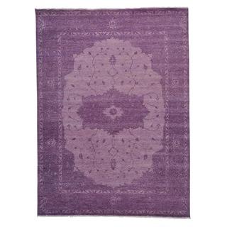 Overdyed Purple Serapi Heriz Handmade Oriental Rug (9' x 12'2)
