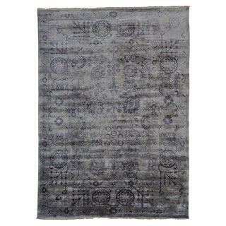 Wool and Viscose Rayon from Bamboo Tabriz Oriental Rug Hand Knotted (8'10 x 12'2)