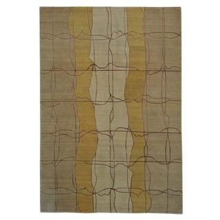 Modern Nepali Oriental Rug Handmade Wool and Silk (6' x 8'9)