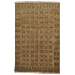 Modern Nepali Oriental Rug Wool and Silk Handmade (5'7 x 8'8)