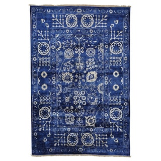 Hand Knotted Wool and Rayon from Bamboo Silk Tabriz Oriental Rug (6' x 9')