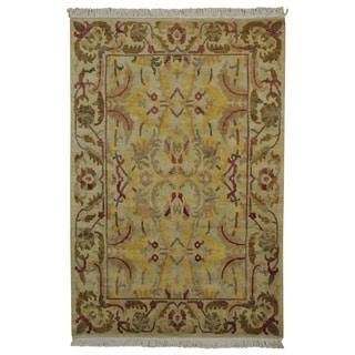 Ivory Modern Nepali 100 Percent Wool Handmade Oriental Rug (6' x 9')