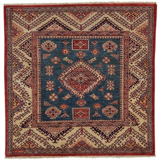 Square Super Kazak Handmade 100 Percent Wool Oriental Rug (5' x 5')