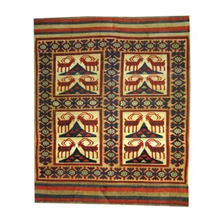 Herat Oriental Afghan Hand-woven Tribal Soumak Wool Kilim (6'8 x 8'1)