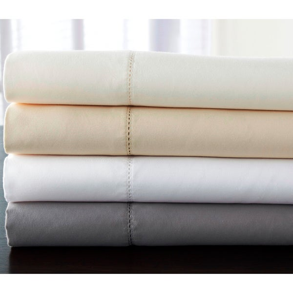 Luxury Estate 6 Piece 1200 Thread Count Cotton Rich Hemstitch Deep Pocket  Sheet Set