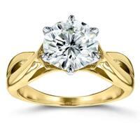 Annello by Kobelli 14k Yellow Gold 1 7/8 Carat 6-prong Round Moissanite Solitaire Crossed Split Shank Engagement Ring (HI/VS)