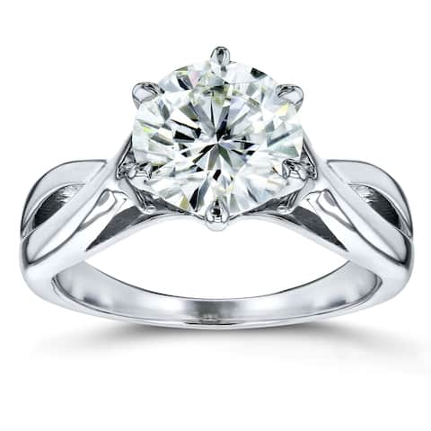 Annello by Kobelli 14k White Gold 1 7/8 Carat 6-prong Round Moissanite Solitaire Brided Shank Engagement Ring (GH/VS)
