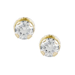 14k Yellow Gold Cubic Zirconia Round Stud Earrings