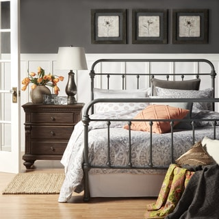 Giselle Dark Grey Graceful Lines Victorian Iron Metal Bed by iNSPIRE Q Classic