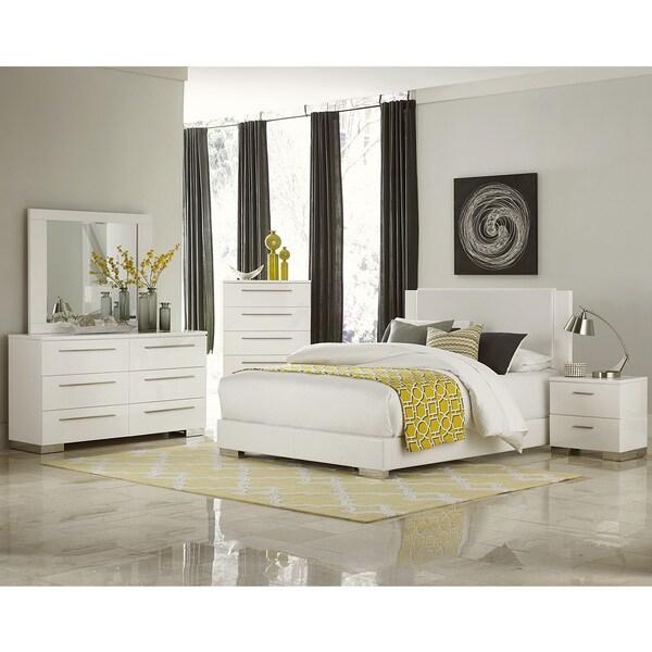 leena white faux leather chrome high gloss 5 piece bedroom set free