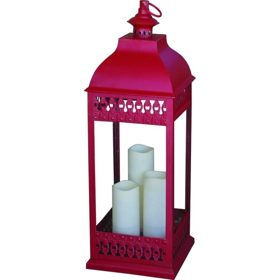 Smart Solar San Nicola Red Triple LED Candle Lantern (Glass)