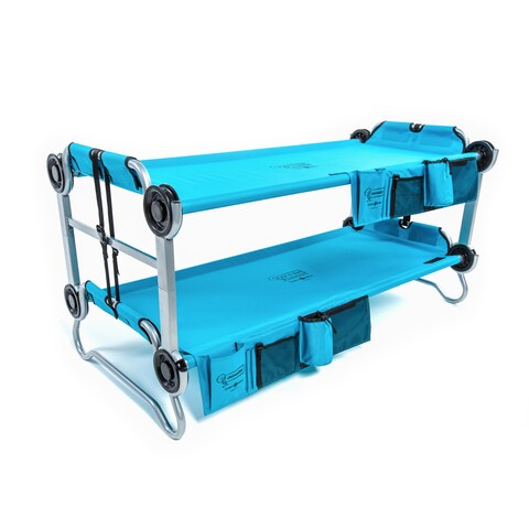 Disc-O-Bed Kid-O-Bunk Teal Blue Bunk Bed with Side Organizer