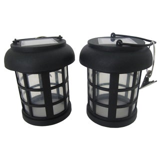 "Smart Solar 3782WRM2 4.5"" Black Umbrella Hanging Solar Lanterns (Set of 2)"