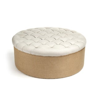Tufted Top Round Ottoman with Burlap Base