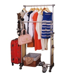 Double Garment Rack and Magazine Pockets