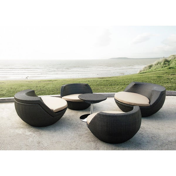 Renava Ovum Modern Brown 5 Piece Egg Shaped Patio Set