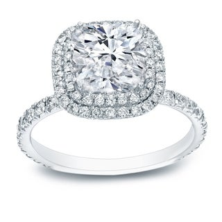 Auriya 18k White Gold 3ct TDW Cushion-cut Certified Diamond Double Halo Engagement Ring (H-I,VS1-VS2)