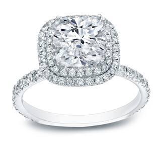 Auriya 18k White Gold 3ct TDW Certified Cushion-Cut Diamond Halo Engagement Ring