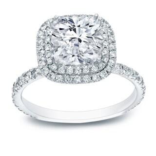 auriya 18k white gold 3ct tdw certified cushioncut diamond halo engagement ring