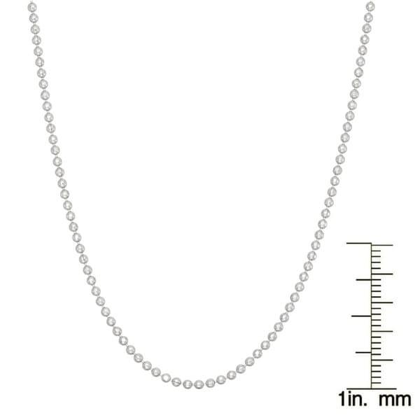 "1.2MM ITALIAN STERLING SILVER 925 DIAMOND CUT BEAD BALL CHAIN NECKLACE 20/"""