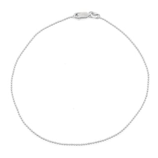 Gioelli Sterling Silver Diamond-cut 1.2 mm Ball Chain Anklet