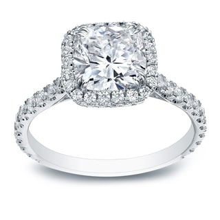 Auriya 18k White Gold 2ct TDW Certified Cushion-Cut Diamond Halo Engagement Ring