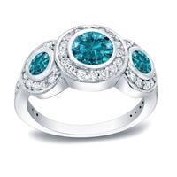Auriya 14k White Gold 1 1/2ct TDW 3-Stone Round Bezel Diamond Ring (Blue)