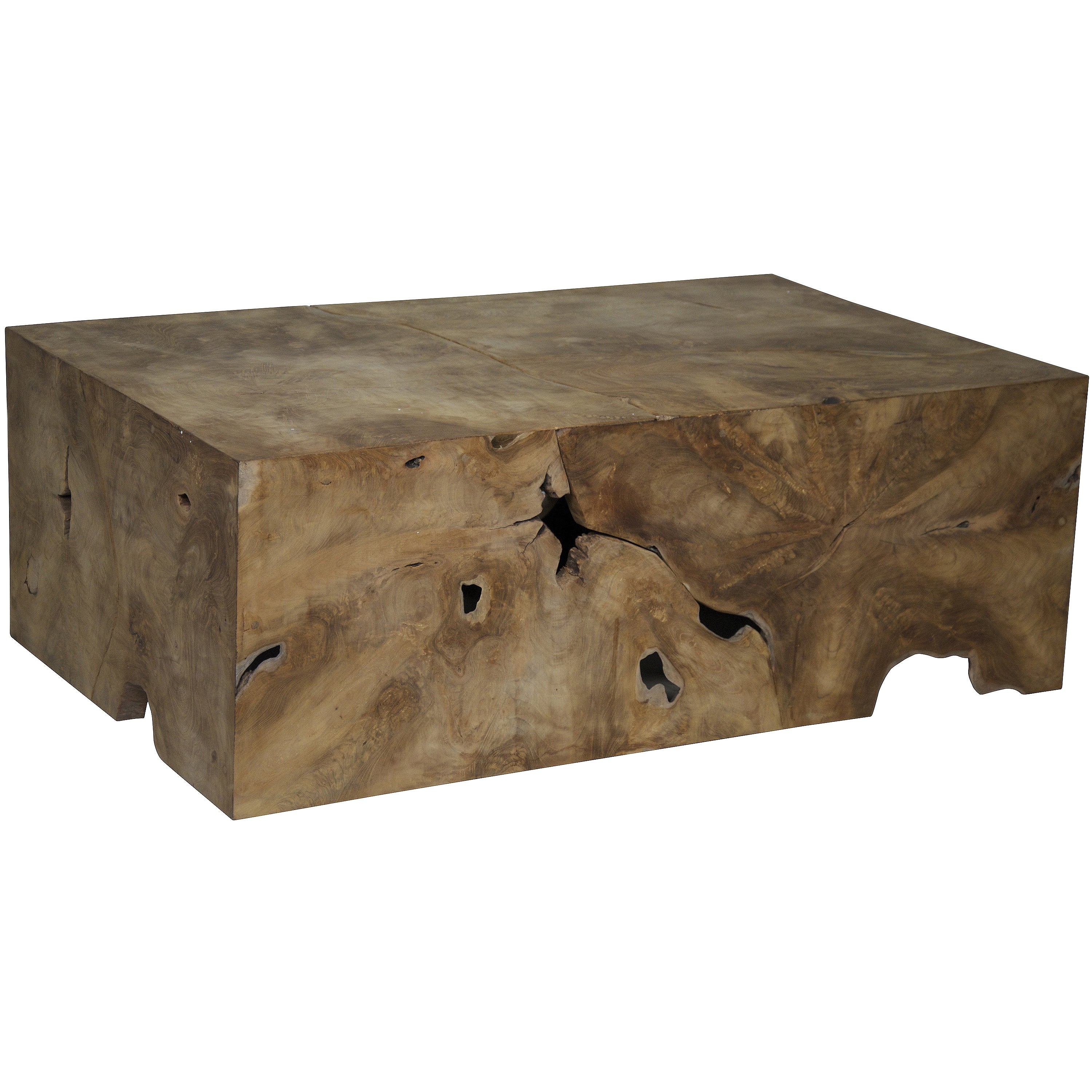 Muse Root Teak Wood Coffee Table (Teak), Beige