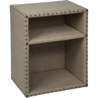Hilda Burlap and Nailhead Trim Side Table